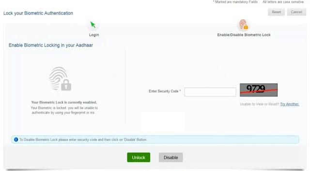 Aadhar Card me  Biometric ki Jankari ko unlock kaise