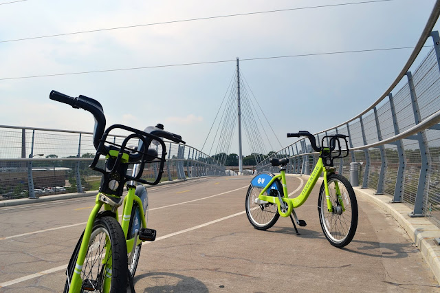 Nice Ride Bikes on Sabo Bridge Minneapolis by Patrick Valdez