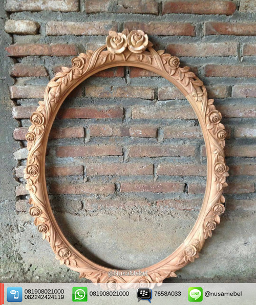 Oval French Style Mirror Floral Carving Anantha