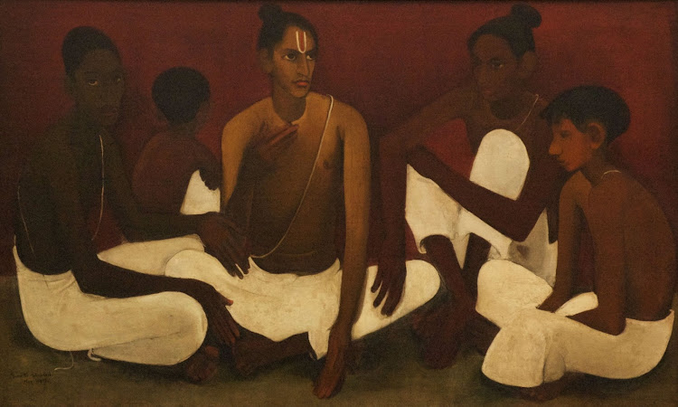 Brahmacharis by Amrita Sher-Gil (Oil on Canvas) - 1937