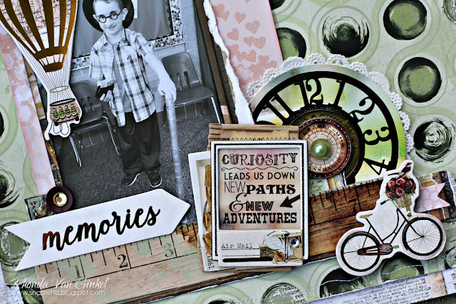 Curiosity Leads Us Scrapbook Page featuring Beautiful Dreamer and I Heart Stars Stamps by BoBunny designed by Rhonda Van Ginkel