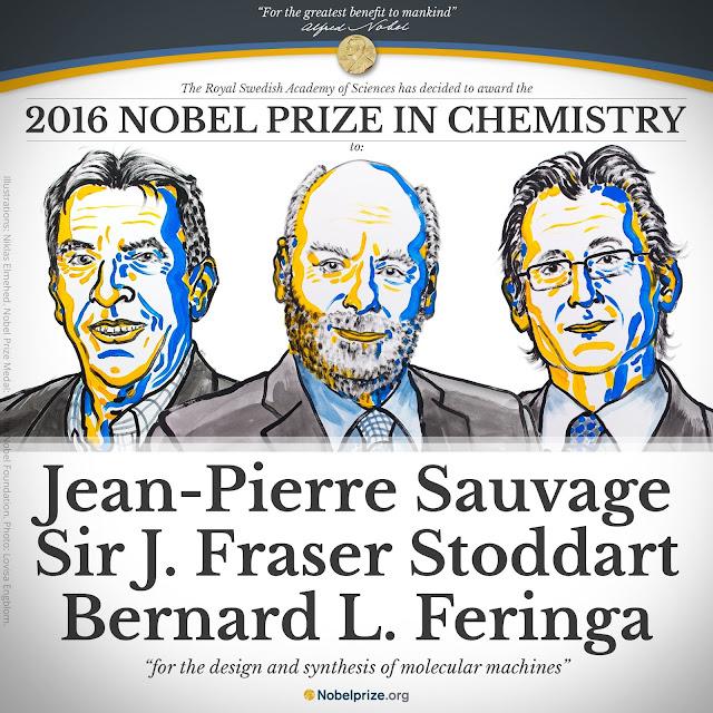 Hình vẽ ba khoa học gia Jean-Pierre Sauvage, Sir Fraser Stoddart và Bernard Feringa đã đoạt giải Nobel Hóa học 2016.