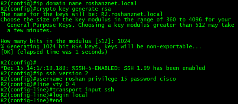 Roshan's Networking Blog: Enabling SSH on Cisco Routers / Switches