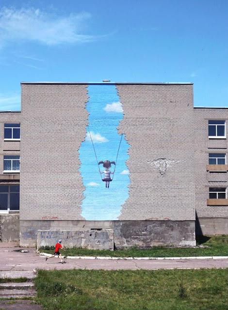 Мурал на стене школы в Попасной