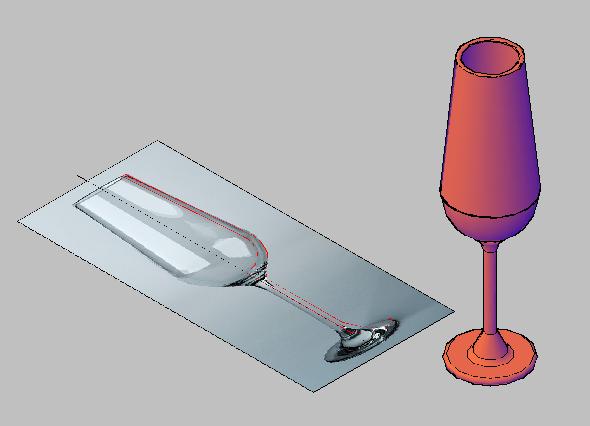 membuat gelas dengan perintah revolve autocad