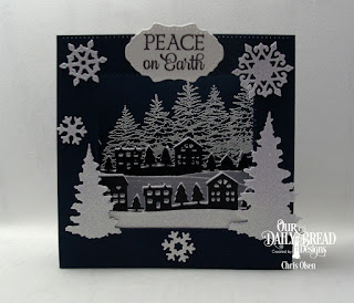 Our Daily Bread Designs Stamp Set: Peaceful Wishes, Custom Dies: Diorama with Layers, Trees & Deer, Snow Crystals, Neighborhood Border, Double Pierced Vintage Labels, Curvy Slopes