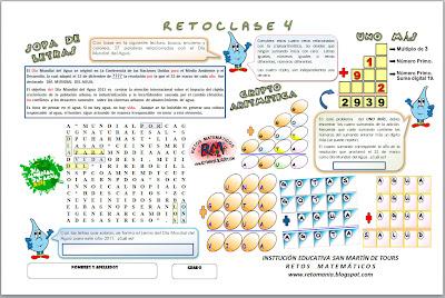 Sopa de Letras, Día del Agua, Agua, Criptoaritmética, Alfamética, Criptosuma, Problemas matemáticos, Desafíos matemáticos, Uno más