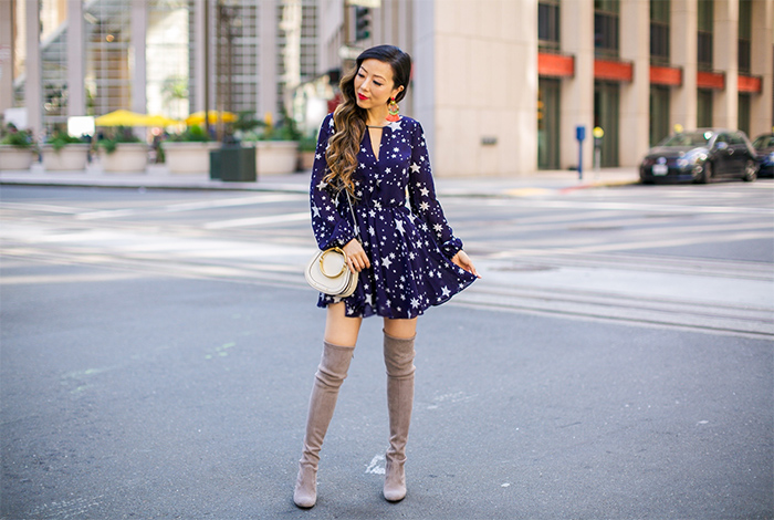 lovers and friends dress, star dress, stuart weitzman highland over the knee boot, otk boots, grlfrnd denim jacket, denim jacket, elizabeth and cole earrings, chloe nile bag, fall fashion, san francisco fashion blog, san francisco street style
