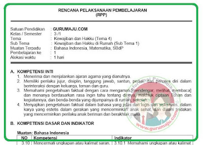 RPP Kelas 3 Tema 4 Kurikulum 2013 Revisi 2018