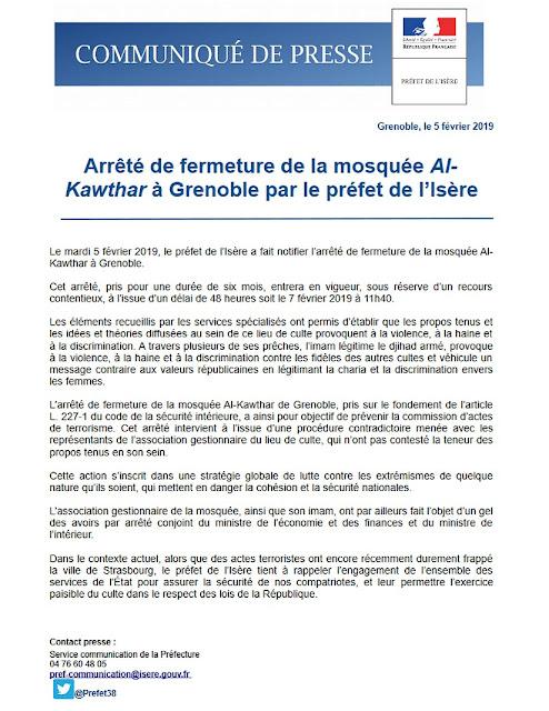 Communiqué de la préfecture de l'Isère concernant la fermeture administrative de la mosquée Al-Kawthar à Grenoble
