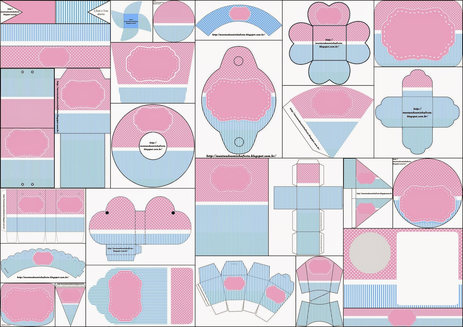 Free Printable Kit in Light Blue an Pink.