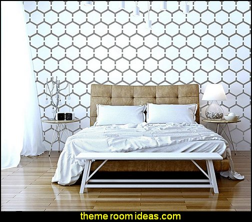 HONEYCOMB Furniture Wall Floor Stencil for Painting - Wall bumble bee bedrooms - Bumble bee decor - Honey bee decor - decorating bumble bee home decor - Bumble Bee themed nursery - bee wallpaper mural decals - Honeycomb Stencil - hexagonal stencils - bees in springtime garden bedroom -  bee themed nursery - black yellow bedroom ideas
