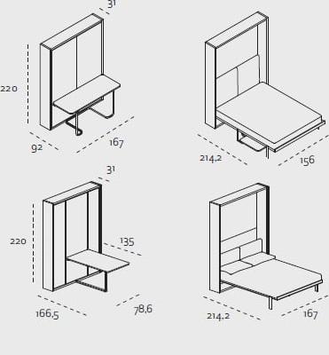 Marzua ulisse cama abatible tras una mesa - Mecanismo para camas abatibles ...