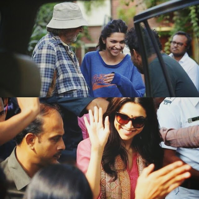 deepika on the sets of piku❤️ deepika padukone , piku ,, Deepika Padukone Piku Movie On Location Pics with Amitabh Bachchan