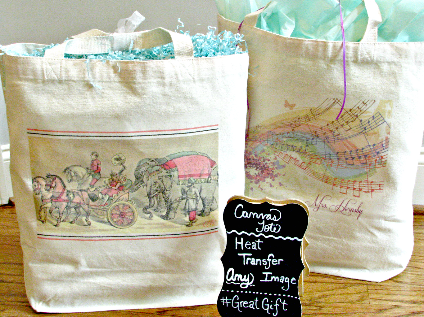Canvas tote bags with transferred images using iron on transfer paper.