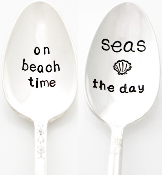 Hand Stamped Beach Quote Silver Spoons