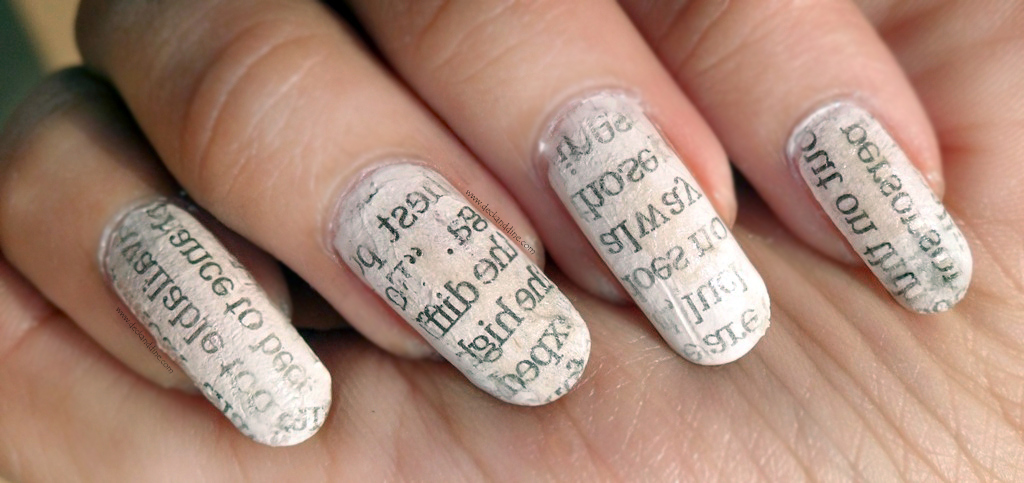 Newspaper Nail Art Using Water Tutorial With Step By Step Pictures