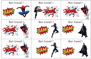 Cartes bon point sur les super-héros