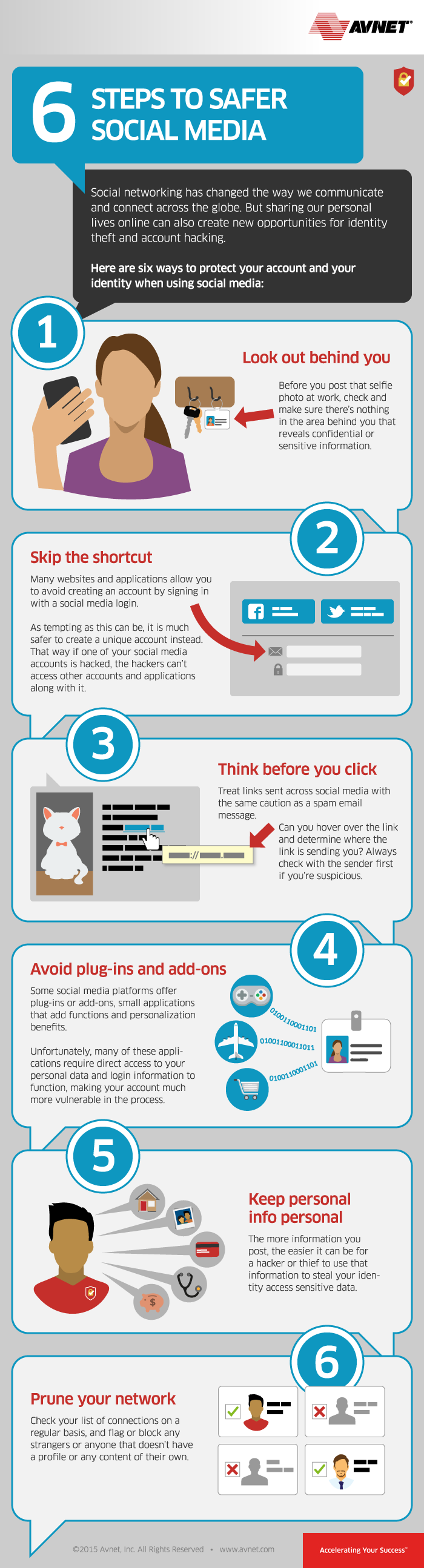 Social Media and Internet Safety Tips: 6 Steps to Safer #SocialMedia - #infographic
