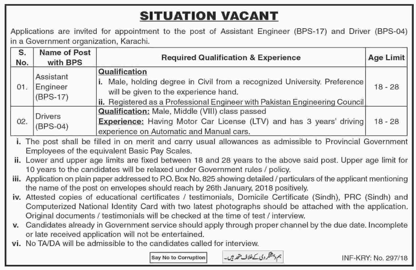 Jobs In Govt Organization Karachi January 2018