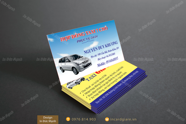 Mẫu card visit Taxi Dịch vụ xe 7 chỗ