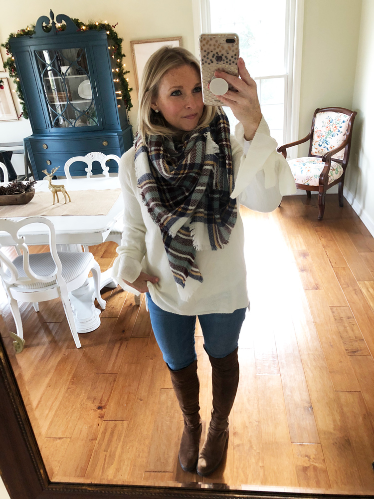 plaid scarf with cream sweater and over the knee boots