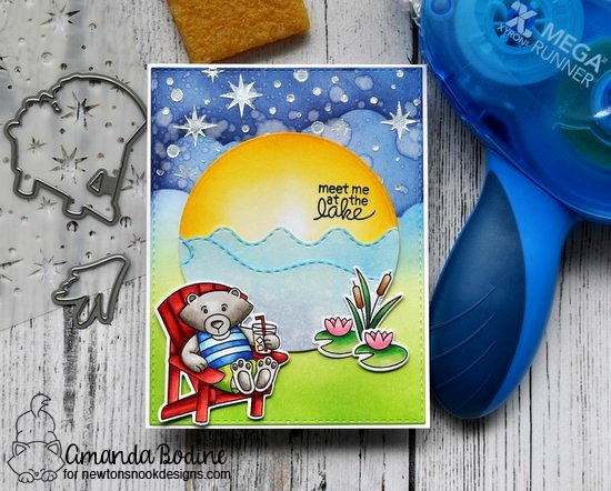 Newton's Nook Designs & Xyron Inspiration Week | Meet me at the Lake Card by Amanda Bodine using Winston's Lake House Stamp Set & Starfield Stencil by Newtons Nook Designs  #newtonsnook #xyroninc
