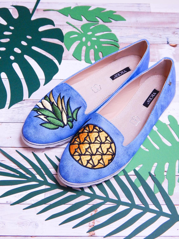 3 renee jasnoniebieskie mokasyny pineapple ananas buty obuwie renee obuwie damskie półbuty buty na wakacje wygodne z aplikacjami wyszywane vices recenzja partybox dodatki na imprezy babyshower gadżety