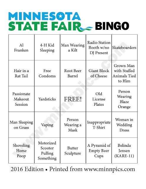 2016 Minnesota State Fair Bingo Card #3 - minnpics.com