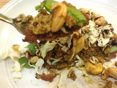 Taro Fritter with ground meat, cabbage, spinach, cashew seeds and reduction of balsamic vinegar.)(Paleo, Gluten-Free)jpg