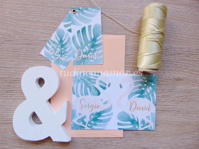 Si buscáis una invitación tropical pintada en acuarela, esta con flamencos es perfecta para vuestra boda