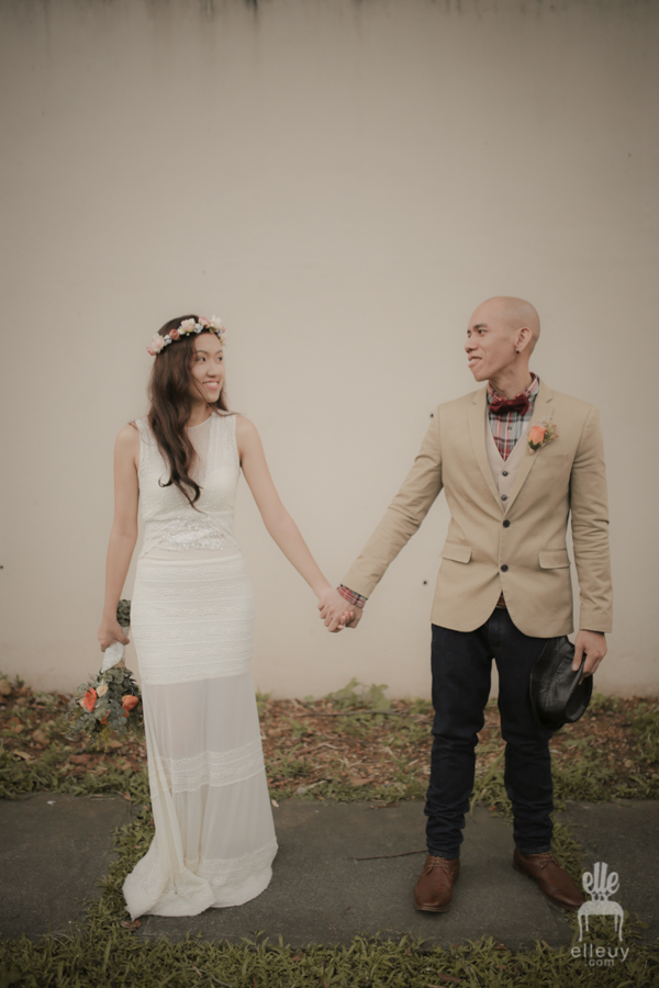 vintage groom, bohemian bride, boho wedding dress, jeans groom, floral crown, simple wedding dress