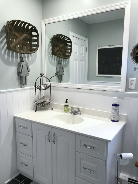 DIY frame to a large bathroom mirror
