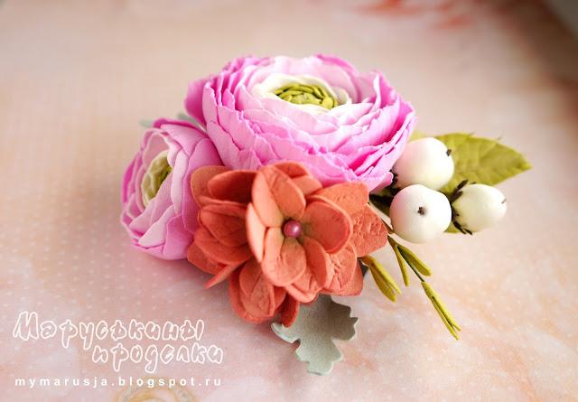 брошь с цветами из фоамирана