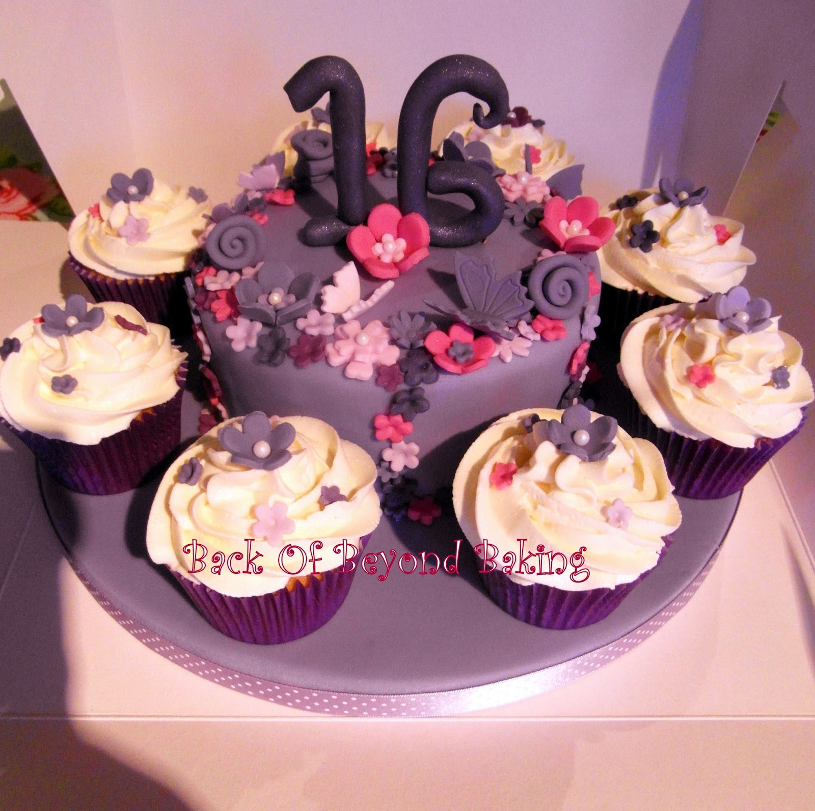 purple themed birthday cake