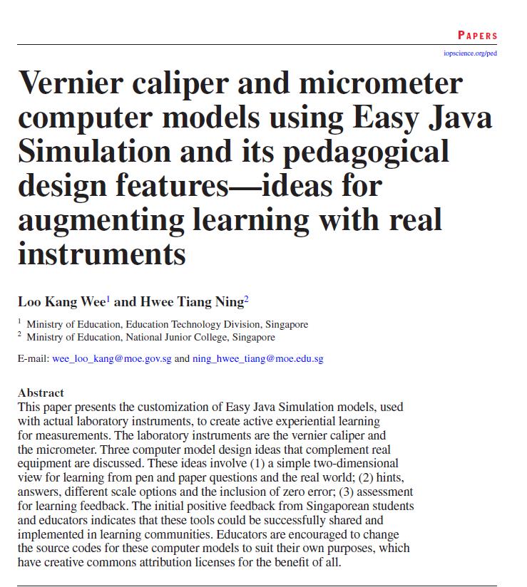 Vernier caliper and micrometer computer models using Easy Java