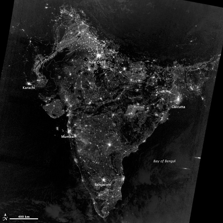 View of India During Night , Photo Released by NASA