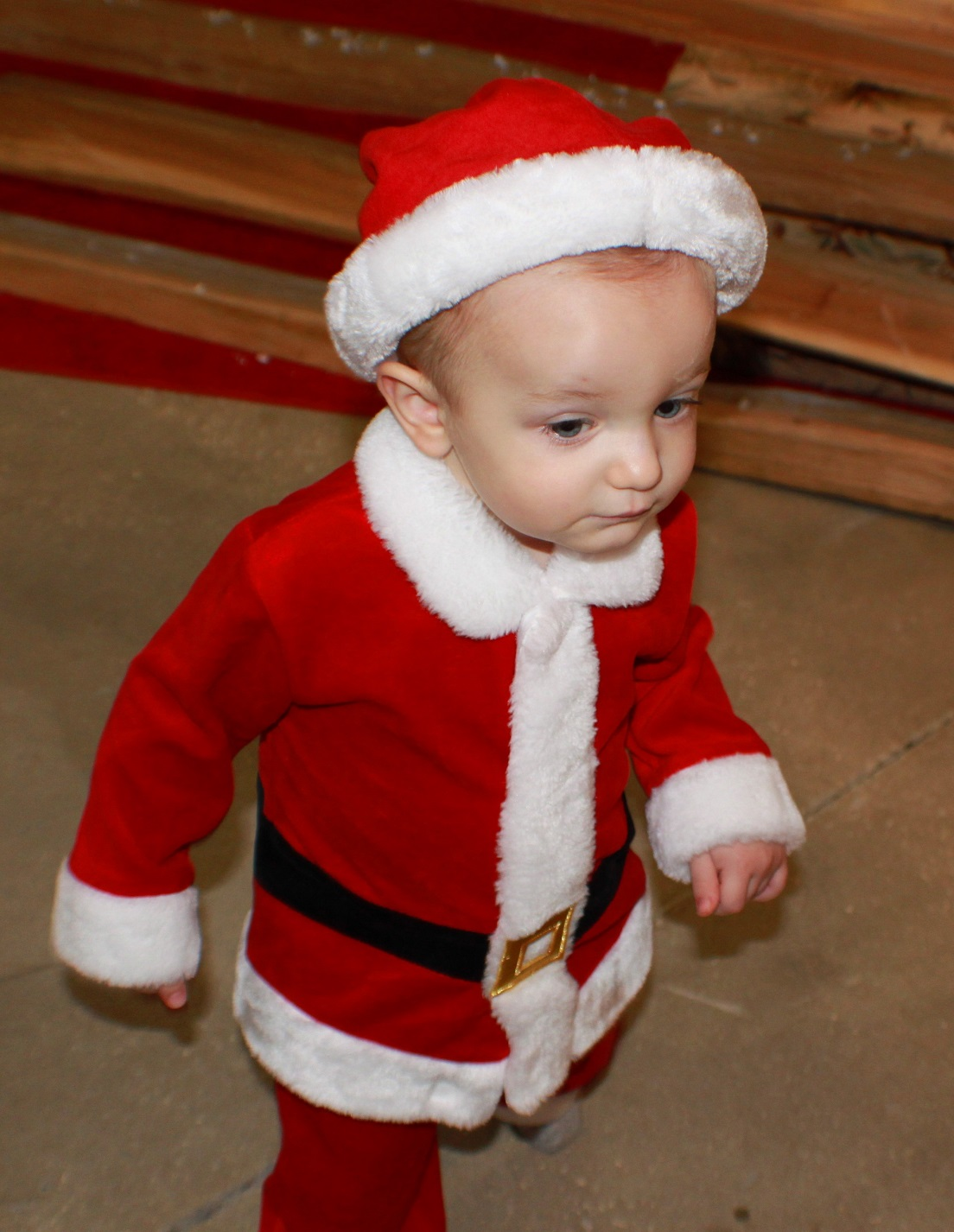 Poppy Nemo Antonio in his little Santa suit for Christmas at 22 months