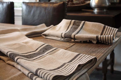 Loving these Provence Natural Black Striped Linen Towels. Although they are marketed as a guest towel, I like the look for a kitchen towel, to line a bread basket or for use as a generous-sized placemat. Image by LeAnn for linenandlavender.net - http://www.linenandlavender.net/2012/11/linen-love.html
