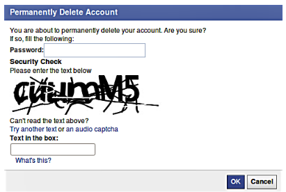 How do i delete my facebook account permanently immediately if youre definitely sure that you will not be requiring your facebook account once again enter your password and security check then click ok ccuart Image collections