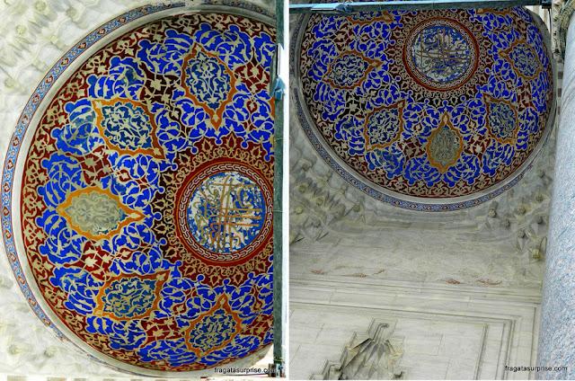 Detalhes decorativos da Mesquita Azul, em Istambul