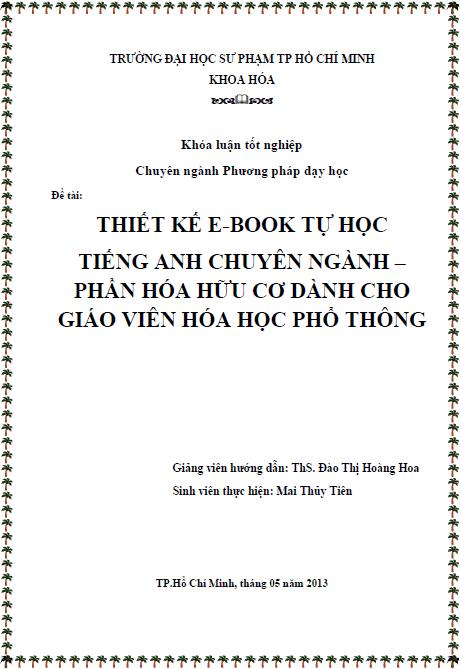 Thiết kế e-book tự học tiếng Anh chuyên ngành Phần Hóa hữu cơ dành cho giáo viên Hóa học