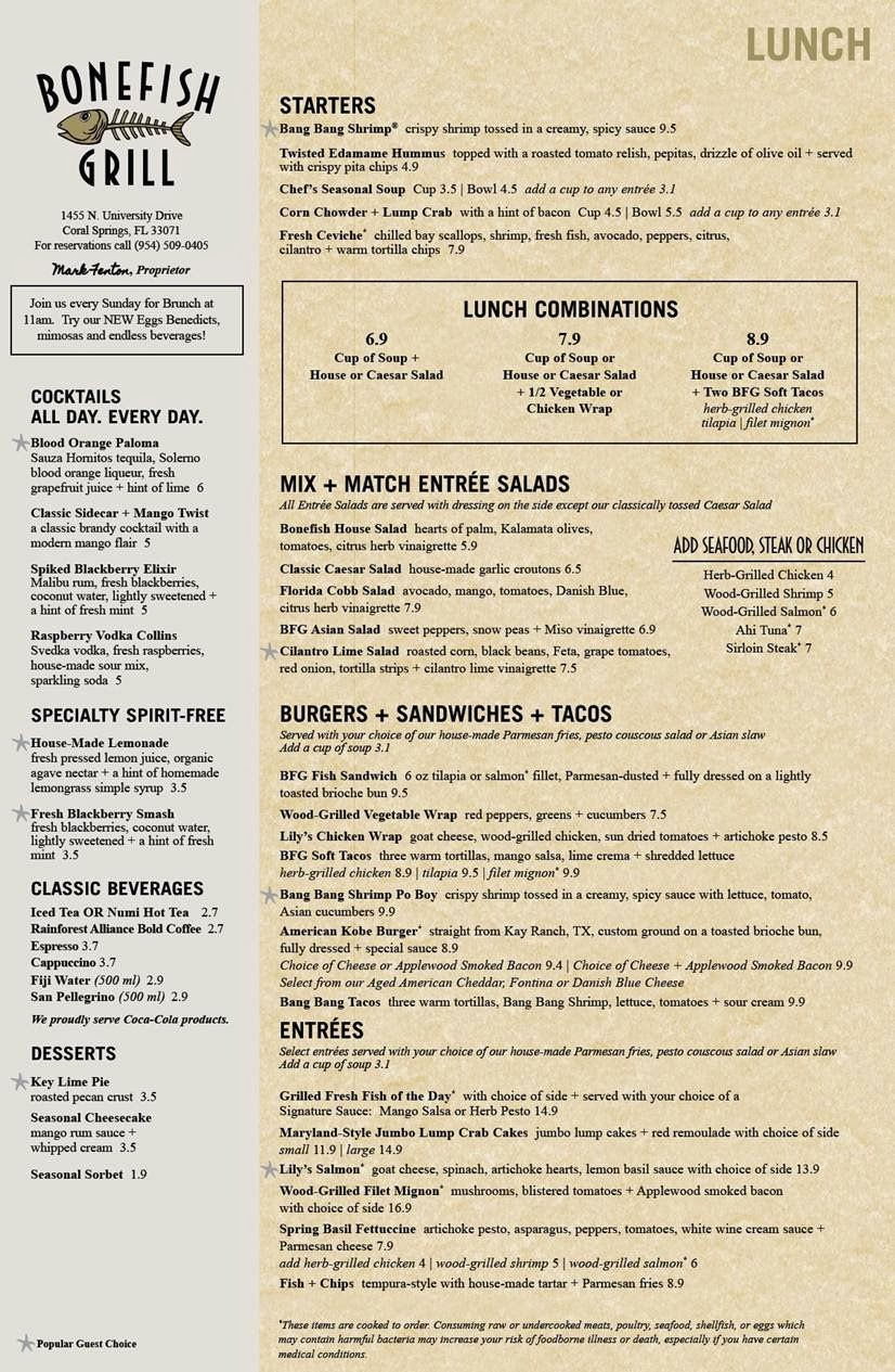 bonefish grill lunch menu review coral springs florida