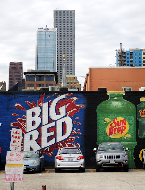 BIG RED and SUNDROP murals near the Convention Center / Minute Maid Stadium