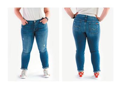 Более прилегающие джинсы бойфренды на полной женщине