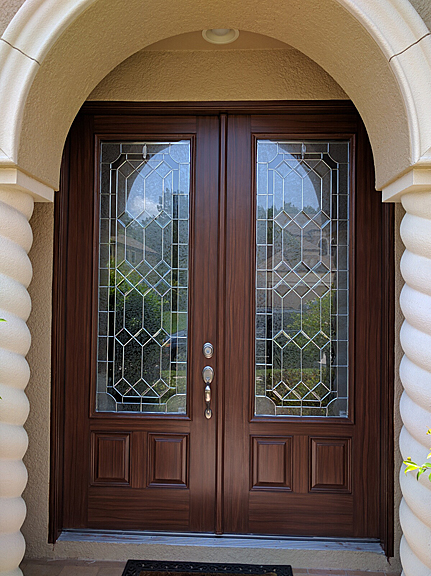Entry doors and french doors painted to look like wood for Paint garage door to look like wood