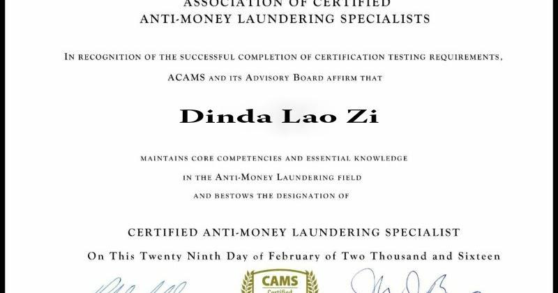 World Secret: Certificate ACAMS