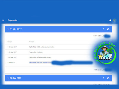 Pembayaran Google Adsense Bulan Mei 2017