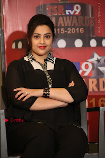 Tamil Actress Meena Latest Stills in Black Dress at TSR TV9 Awards Press Meet  0120.JPG