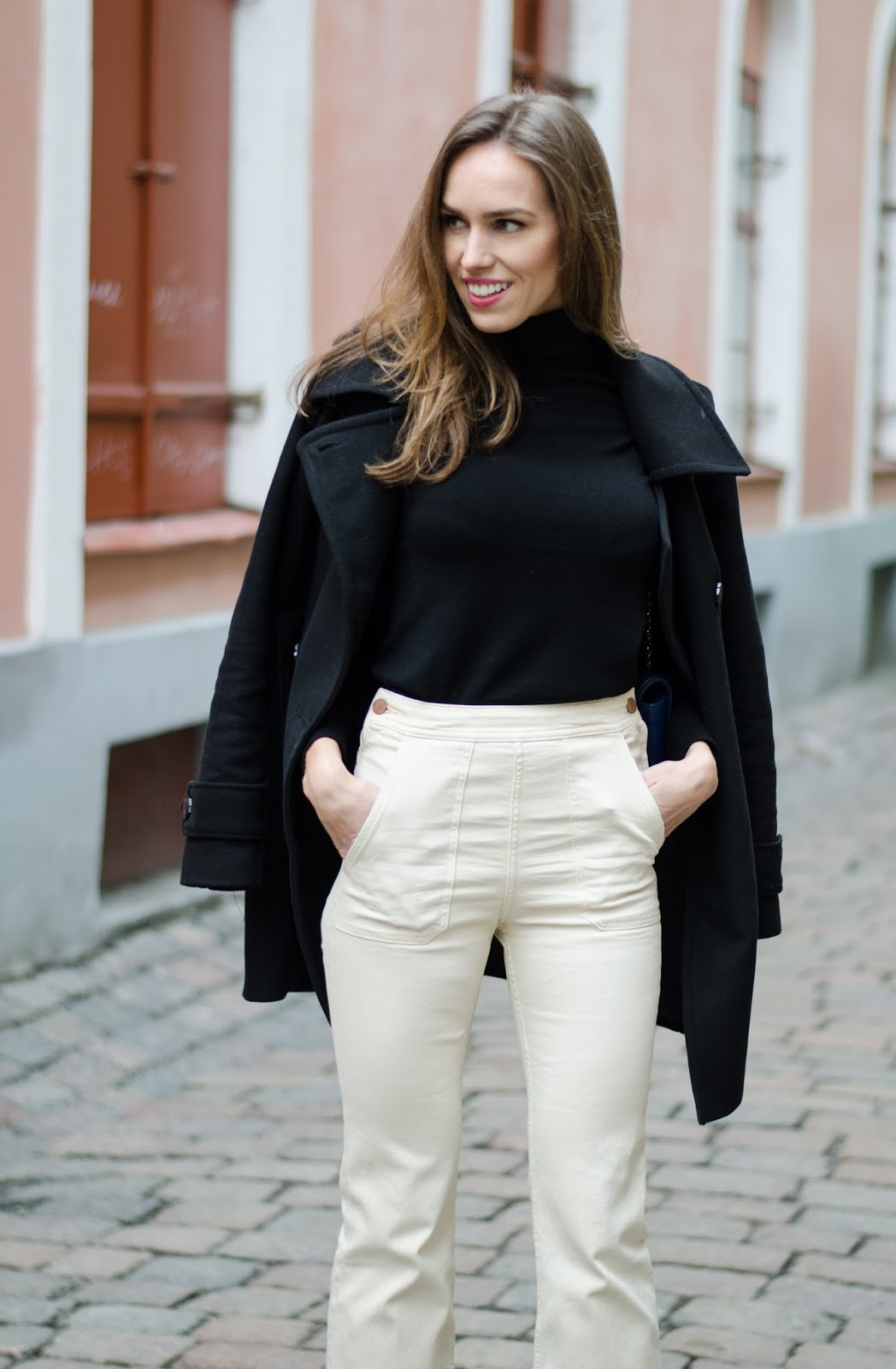 kristjaana mere black turtleneck pullover pea coat white denim
